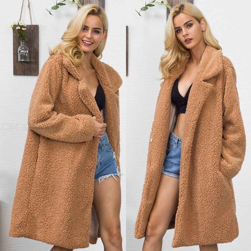 Women's Winter Long Sleeve Fur Coat Lapel Temperament Warm Loose Jacket