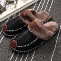 Winter Warm Slippers For Men Fur Soft Adult Leather Slippers Non Slip Indoor Shoes