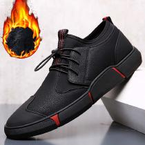 Warm-Leather-Casual-Shoes-Short-Plush-Sneakers-With-Elastic-Band-For-Men-Black