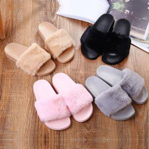 Women Slippers Home Indoor Plush Warm Shoes Comfortable Fur Slides Slippers