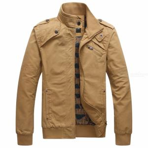 Military Jacket Men Cotton Stand Collar Long Sleeve Casual Autumn Jacket For Male