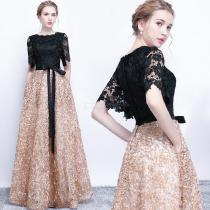 Womens-Lace-Evening-Dress-Maxi-Solid-Tulle-Dress-With-Voluminous-Hem