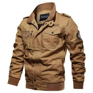 Men Flying Jacket Stand Collar Plug Size Solid Flight Jacket Zipper Loose For Male