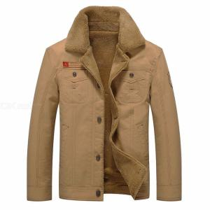 Mens Safari Style Jacket Stylish Solid Fleece Winter Coat