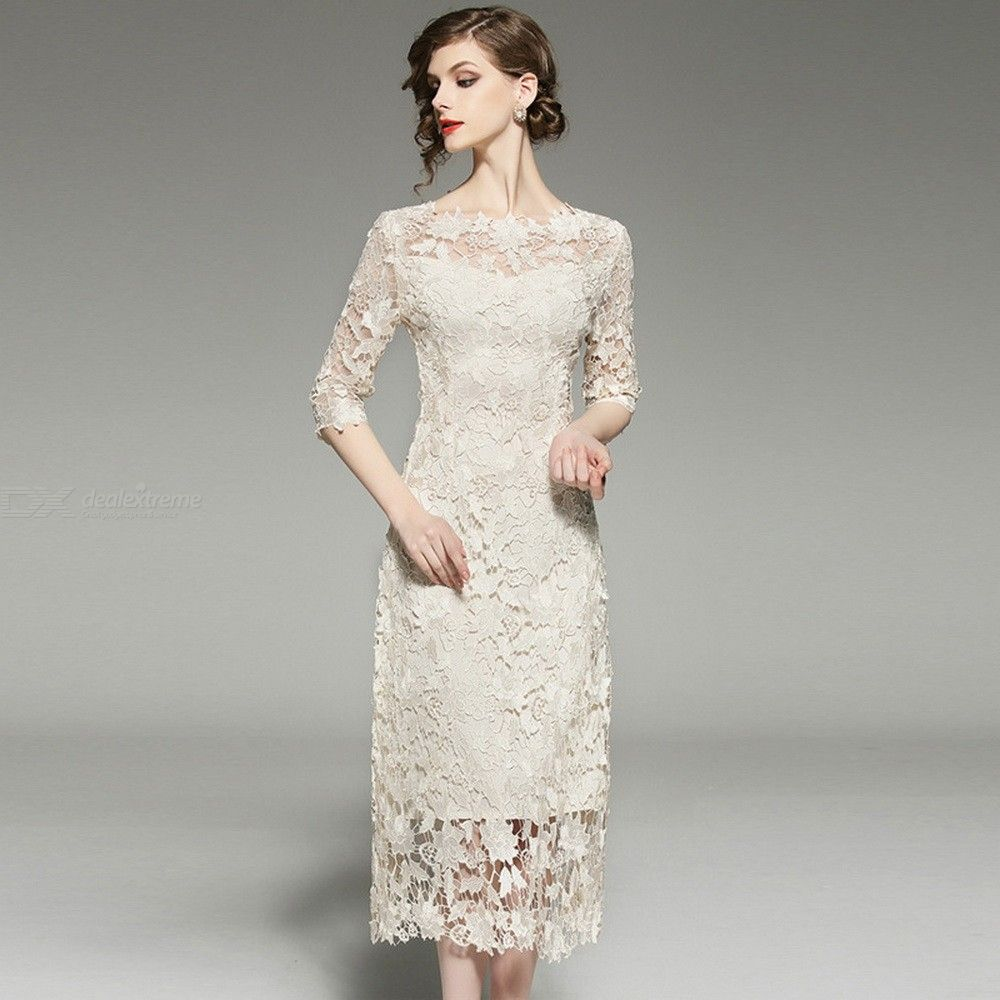 Vintage-Lace-Hollow-Dress-Straight-Slim-Knee-Length-Dresses-For-Women
