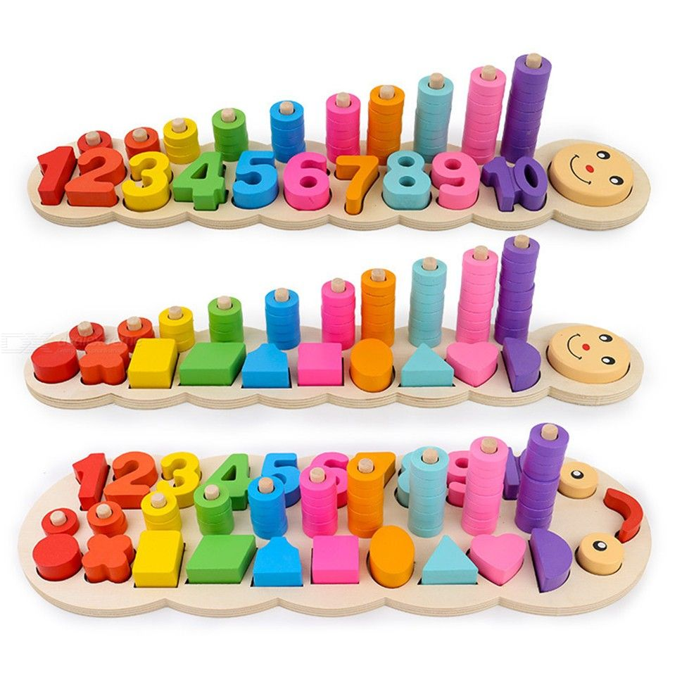Children Wooden Montessori Learning Counting Numbers Matching Digital Shape Early Education Teaching Math Toys
