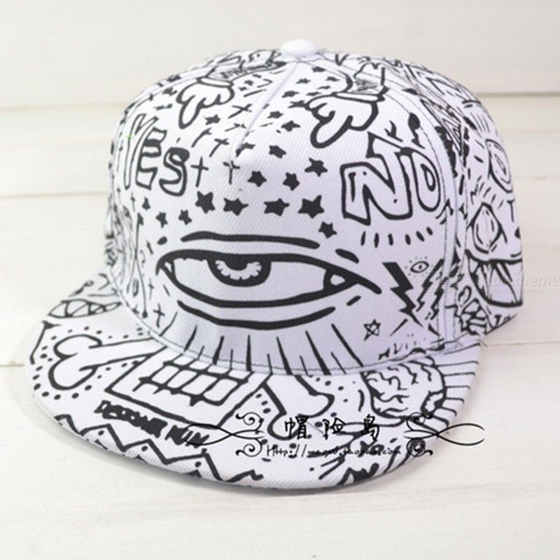 White Eyes Scrawl Totem Printed Adjustable Hip Hop Hats Baseball Skateboard Cap