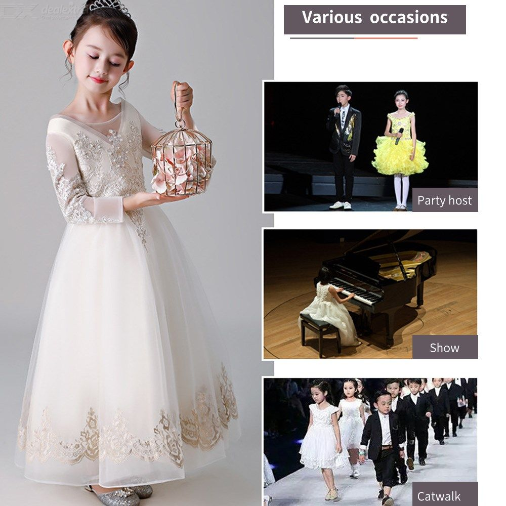 18b4e5fad81f ... Kids Dress Long Sleeve Princess Lace Flower Ball Gown Dresses For Girls