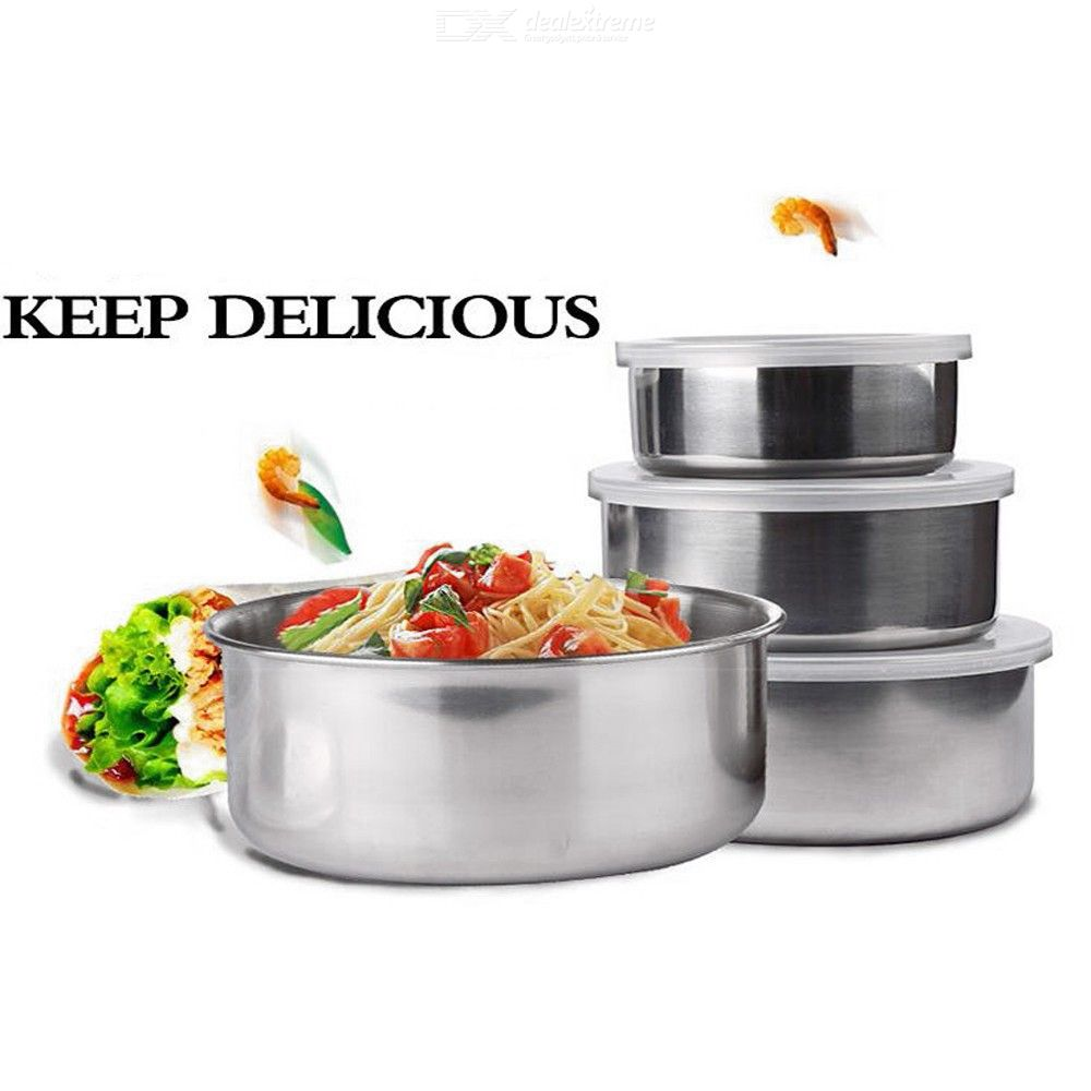 5Pcs Stainless Steel Food Container Box Refrigerator Crisper Storage Lunch Boxer Mixing Bowls Airtight Lids Preserving Box