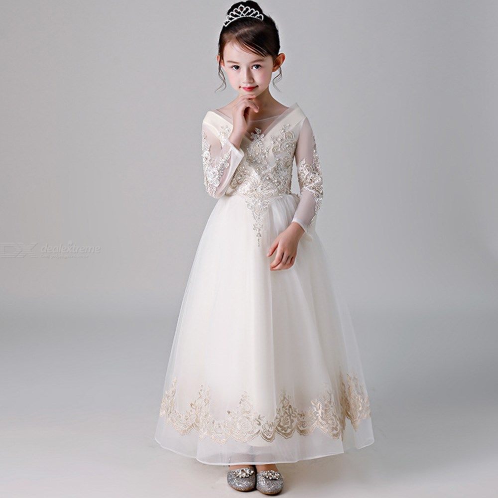 ef29700d1ade ... Kids Dress Long Sleeve Princess Lace Flower Ball Gown Dresses For Girls  ...