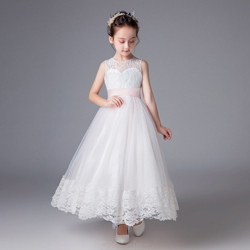 bc438f13ea6f ... Elegant Dress Long Sleeveless Lace Flower Ball Gown Dresses For Girls  ...