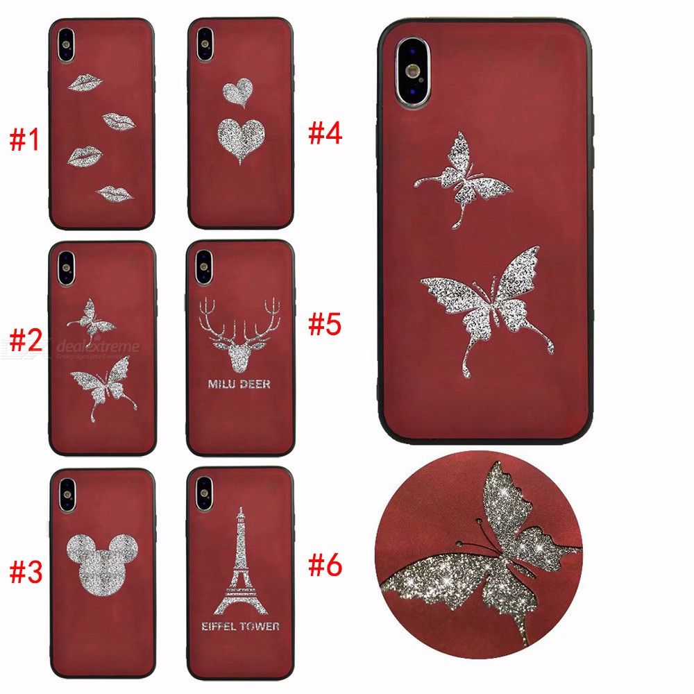 Emboss 3D Pattern Soft TPU Case Glitter Silicone Cover for IPHONE X/XS/6/6S/7/8 Plus
