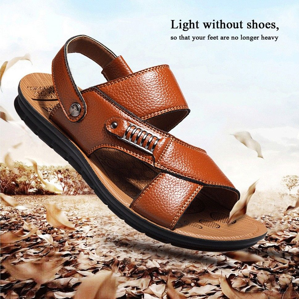 Summer-Mens-Sandals-Fashion-Genuine-Leather-Beach-Shoes-Casual-Non-Slip-Slippers