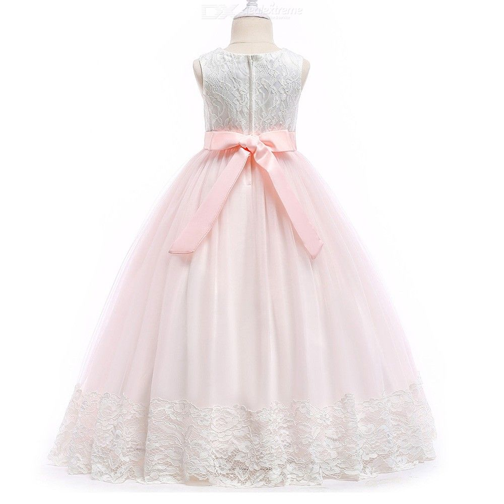 e06a4bd88d66 ... Elegant Dress Long Sleeveless Lace Flower Ball Gown Dresses For Girls