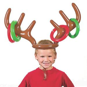Inflatable PVC Christmas Reindeer Antler Hat Ring Toss Fun Game Toy Christmas Party Decoration