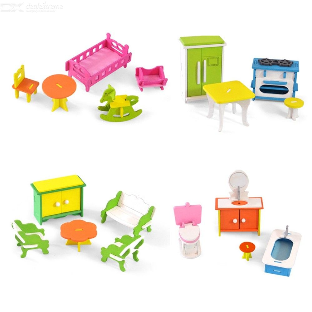 Image of Children Wooden Simulation Small Furniture Toys Pretend Play Toys DIY House Role Play Puzzle Early Education Toys