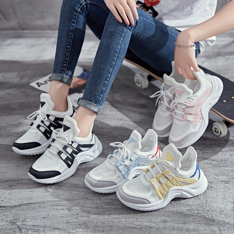 Breathable Mesh Women Casual Shoes Fashion Sneakers Lace Up High Leisure Footwear