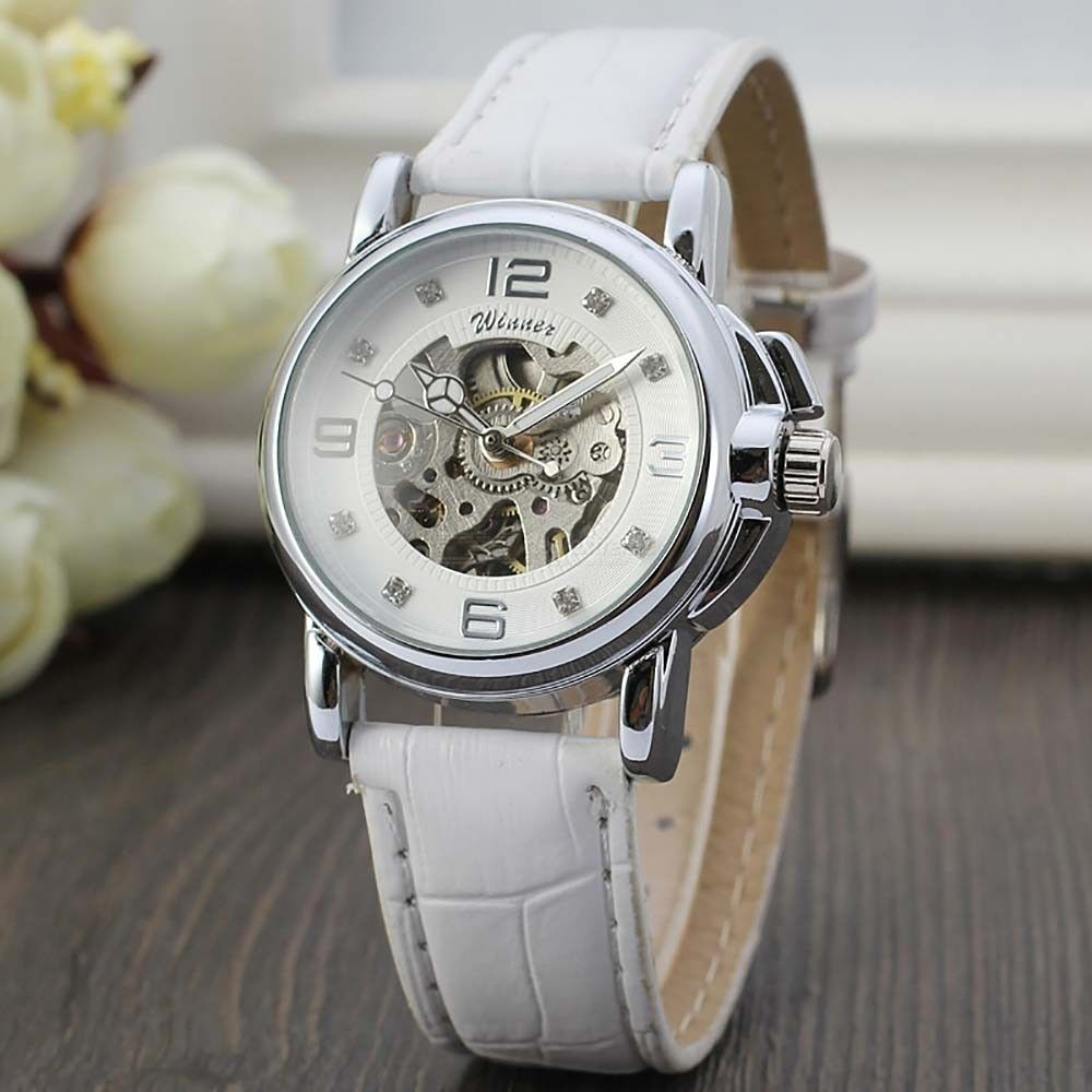Fashion Women Casual Mechanical Wristwatches With Leather Strap