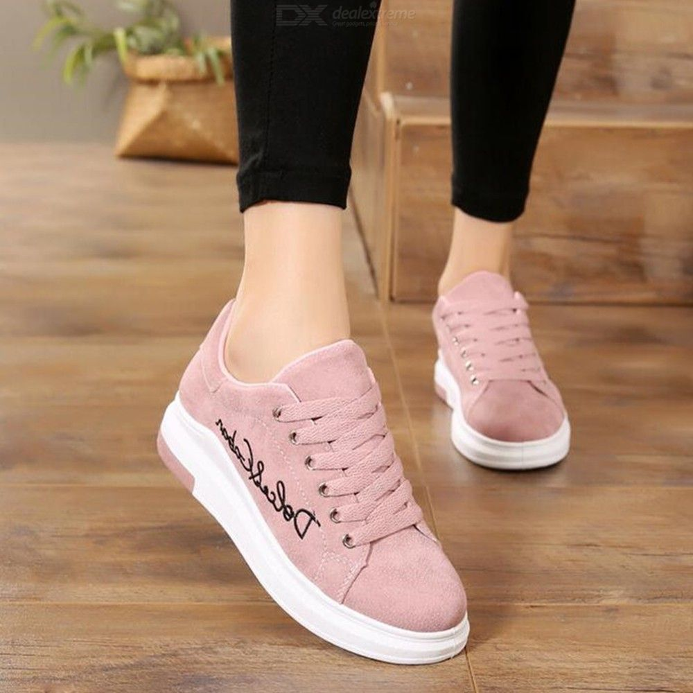 Comfortable Platform Shoes Embroidery Letters Sneakers Autumn Casual Shoes For Women