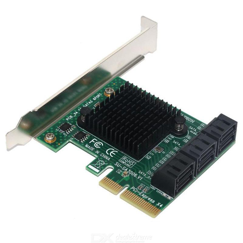 PCIE to 6 SATA Card PCI-E Adapter PCI Express to SATA3.0 Expansion Card 6 Port SATA III 6G for SSD HDD IPFS Mining