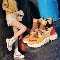Breathable-Buckle-Strap-Women-Casual-Shoes-Fashion-Sneakers-High-Top-Patchwork-Footwear