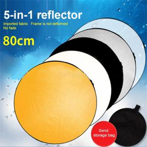 80CM Collapsible Reflector 5-in-1 Camera Lighting Diffuser Kit W/1PC Carrying Bag