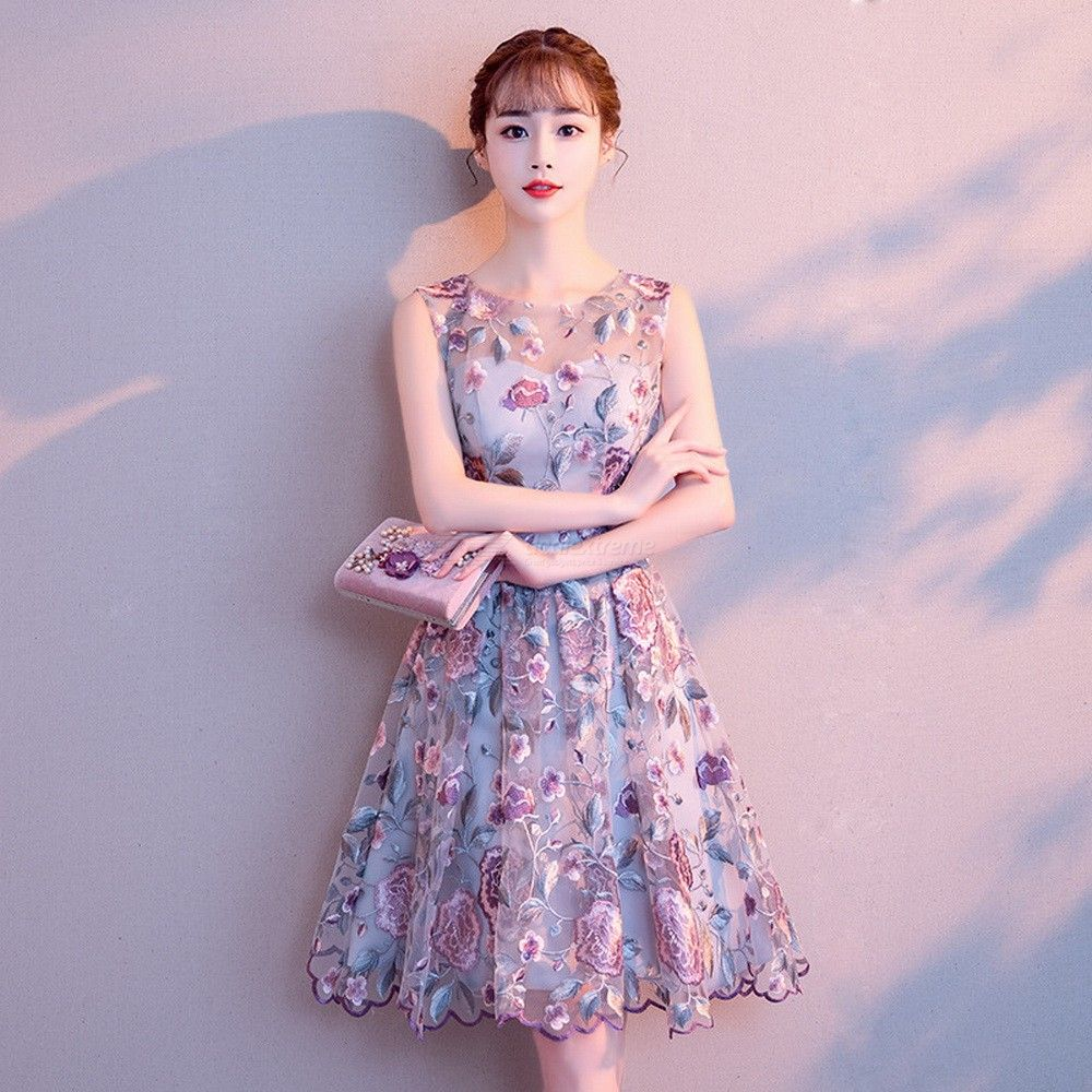Womens Chiffon Evening Dress Round Neck Sleeveless Dress For Birthday Party