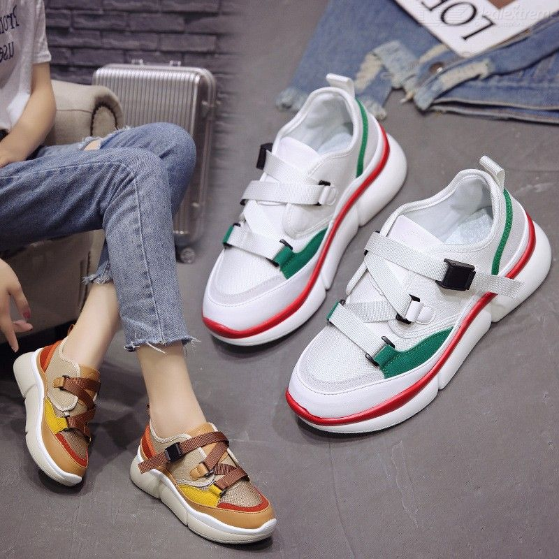 Breathable Buckle Women Casual Shoes Fashion Sneakers Patchwork Footwear
