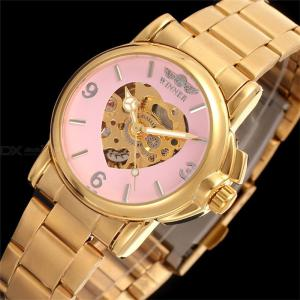 Fashion Casual Women Mechanical Wristwatches Full Automatic Hollow Watch With Stainless Steel Strap