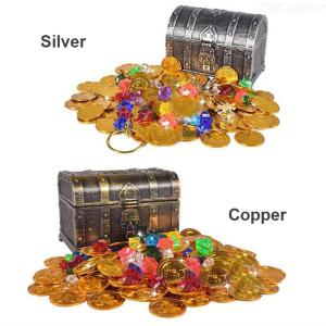 Children Treasure Hunting Box Retro Plastic Large Box Toy Gold Coins And Pirate Gems Jewelry Playset