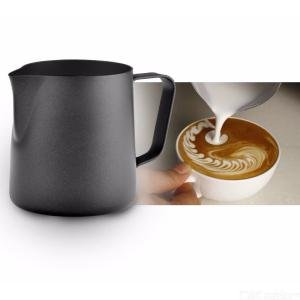 350ml/600ml Stainless Steel Milk Frothing Jug Black Teflon Non-Stick Coating Coffee Latte Tools Milk Pull Flower Cup
