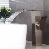 F-0854N-Contemporary-Brass-Waterfall-Brushed-Ceramic-Valve-One-Hole-Bathroom-Sink-Faucet-with-Single-Handle