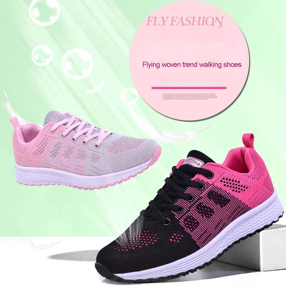 Spring Autumn Women Casual Shoes Mesh Platform Lace-Up Sneakers