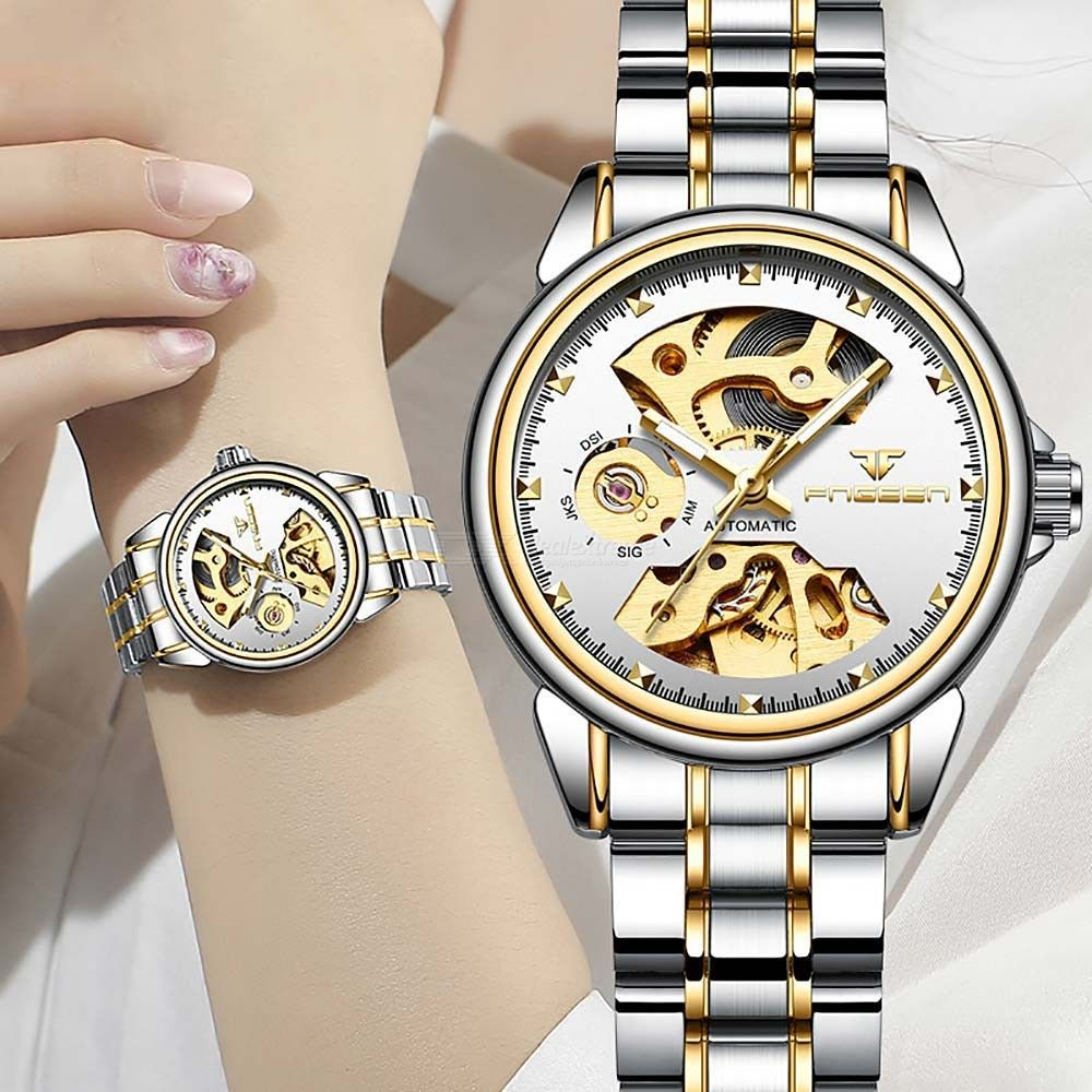 Fashion Mechanical Wristwatches Full Automatic Hollow Waterproof Watch For Women