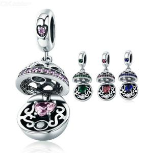 925 Sterling Silver Metal Charms Authentic Love Surprise Inlaid Pink Zircon Pendant For Pandora Bracelets