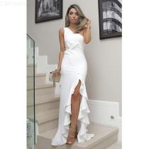 Sexy-Maxi-Dress-Solid-One-Shoulder-Dress-With-Ruched-Slits