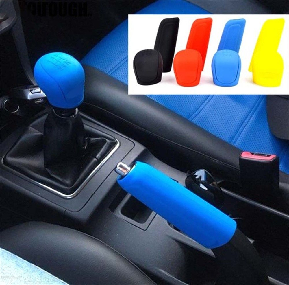 2Pcs Universal Manual Hand Brake Covers Shift Collars Silicone Gear Head Shift Knob Cover Handbrake Grip Car Accessories