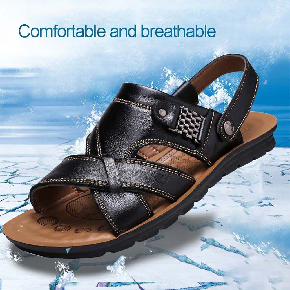 Genuine-Leather-Sandals-Flat-Beach-Slippers-Adjustable-Summer-Shoes-For-Men