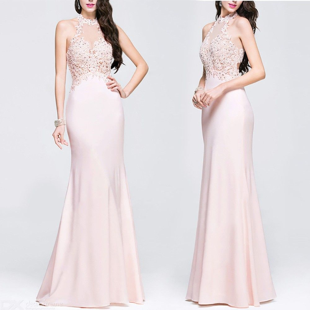 Sexy Halter Evening Dress Maxi Embroidered Lace Dress For Women