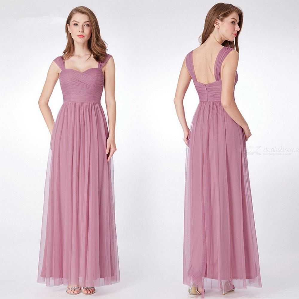 Classic Solid Evening Dress Maxi Draped Chiffon Dress For Wedding Birthday Party