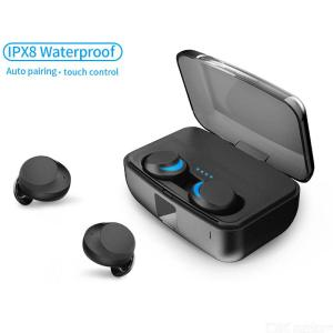 TWS Wireless Earphone IPX8 Waterproof Bluetooth5.0 Touch Control Headset Mini In-ear Earbuds Auto Pairing For IPhone XS