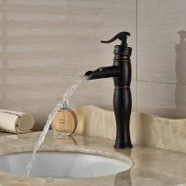 Brass-Waterfall-Deck-Mounted-Ceramic-Valve-One-Hole-Oil-rubbed-Bronze-Bathroom-Sink-Faucet-w-Single-Handle