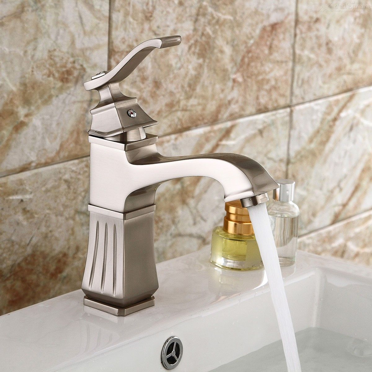 Contemporary Brass Waterfall Brushed Ceramic Valve One-Hole Bathroom Sink Faucet with Single Handle