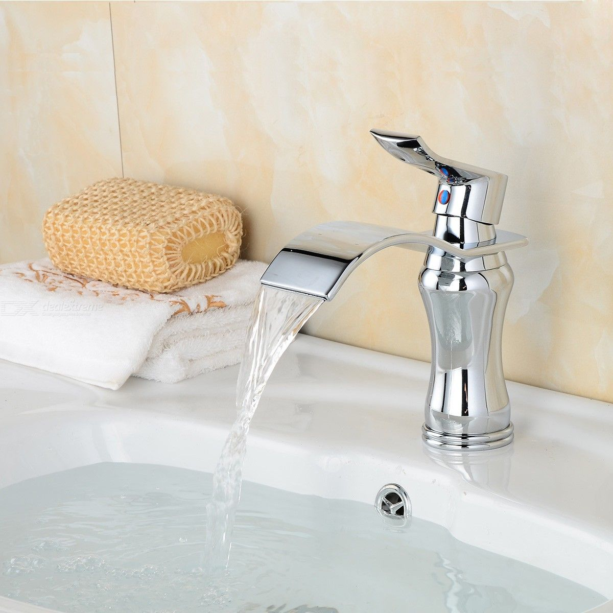 Contemporary Brass Chrome Waterfall Ceramic Valve One-Hole Bathroom Sink Faucet w/ Single Handle
