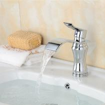 Contemporary-Brass-Chrome-Waterfall-Ceramic-Valve-One-Hole-Bathroom-Sink-Faucet-w-Single-Handle