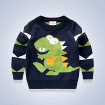 Boys-Sweaters-Dinosaur-Round-Neck-Pullover-Double-Thicken-Warm-Cartoon-Cloth