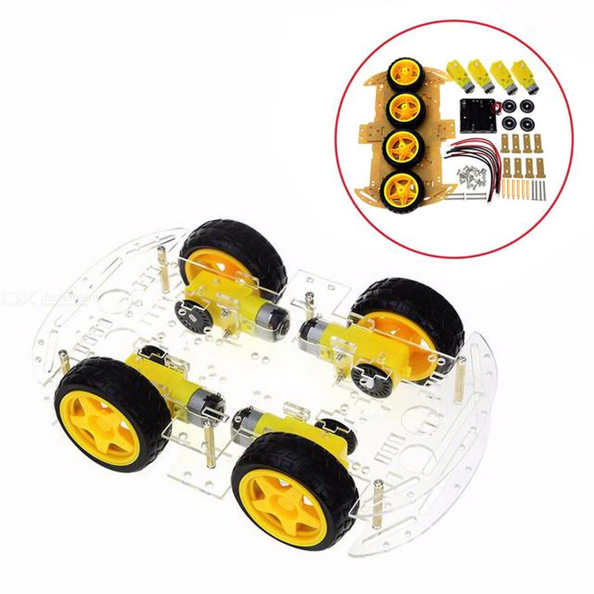 Smart Car Kit, 4WD Smart Robot Car Chassis Kits with Speed Encoder and Battery Box for Arduino DIY Kit colorful