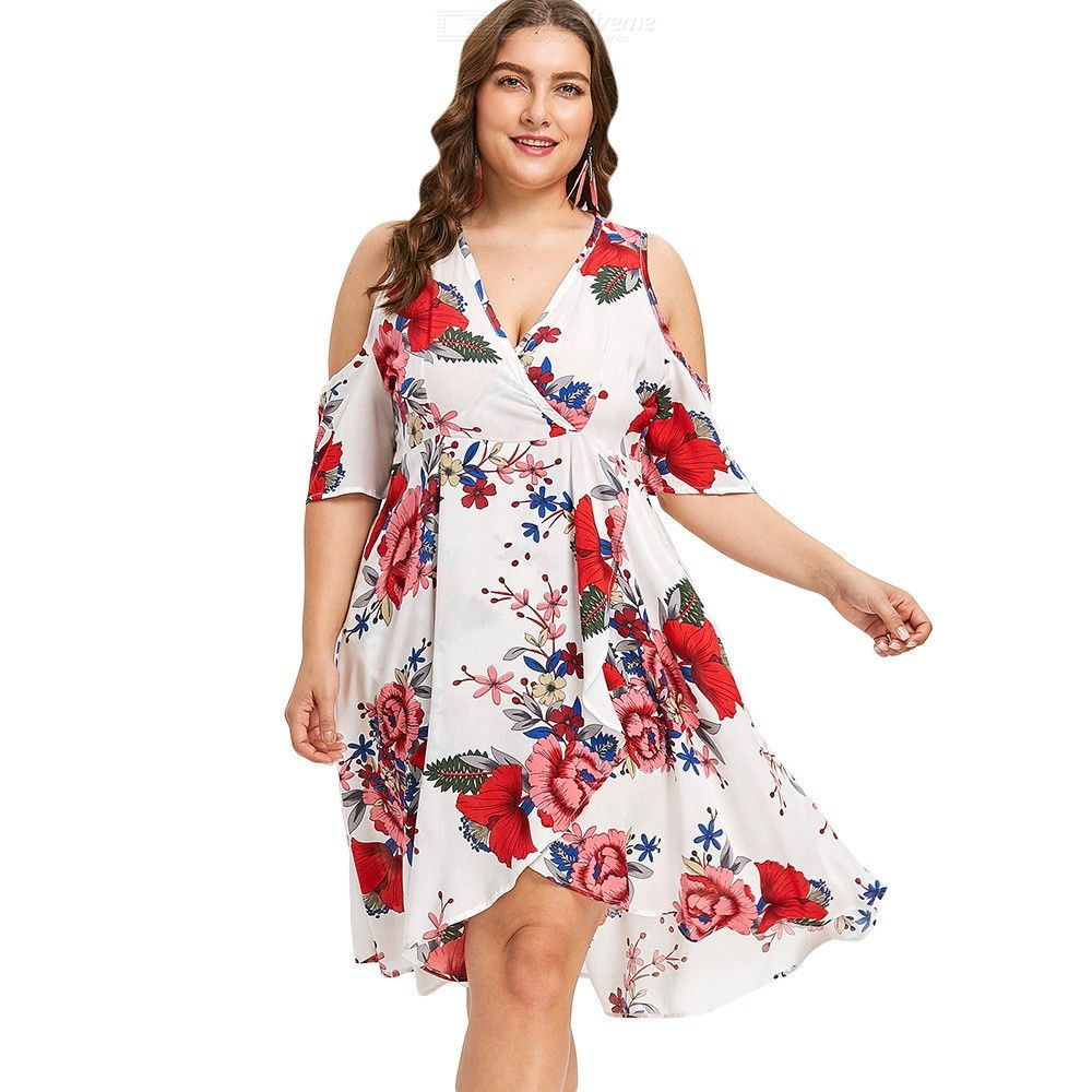 f9d2ffcc9b63 Plus Size Dress Floral Print Wrap Boho Chiffon Sexy Short Sleeve V Neck  Dresses For Women