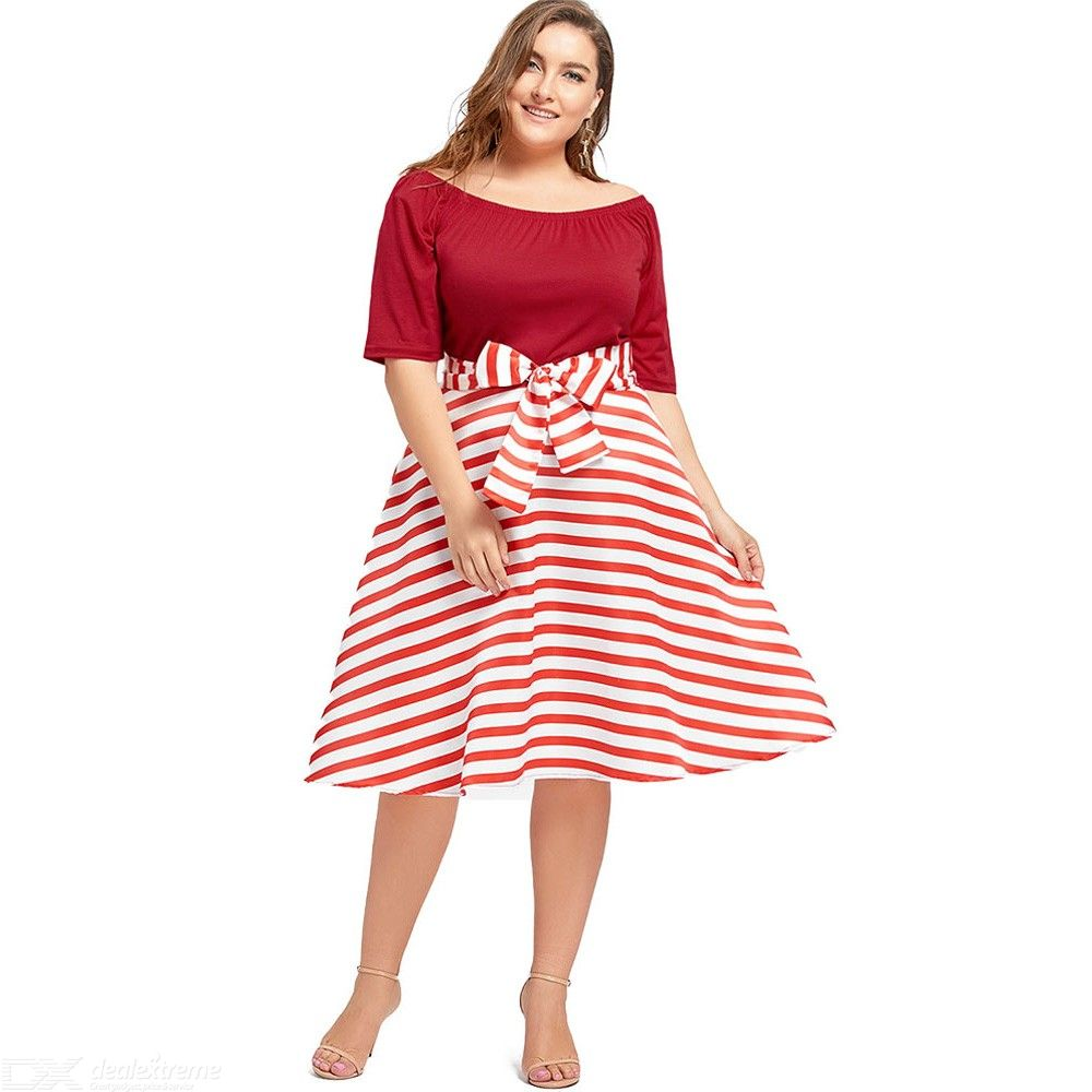 Plus Size Christmas Party Stripe Knee Length Dress High ...