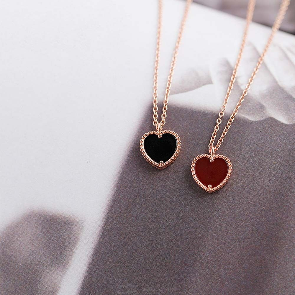 925 Sterling Silver Jewelry Love Heart Shape Rose Gold Red Agate Necklace For Women